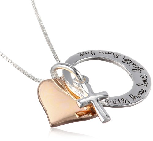 Two tone sterling silver and rose gold flashed faith hope love two tone sterling silver and rose gold flashed faith hope love cross charm pendant necklace 18 wallcrossesandmore aloadofball Image collections