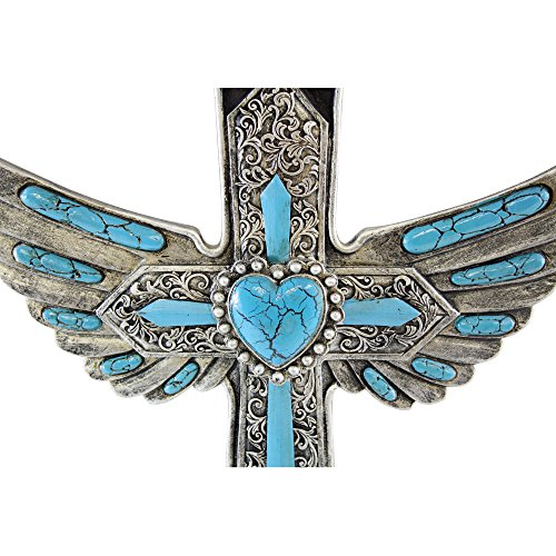 Winged Wall Cross For Décor Beautiful Perfect Art Silver Engraving Turquoise Stones Hanging With Detailed