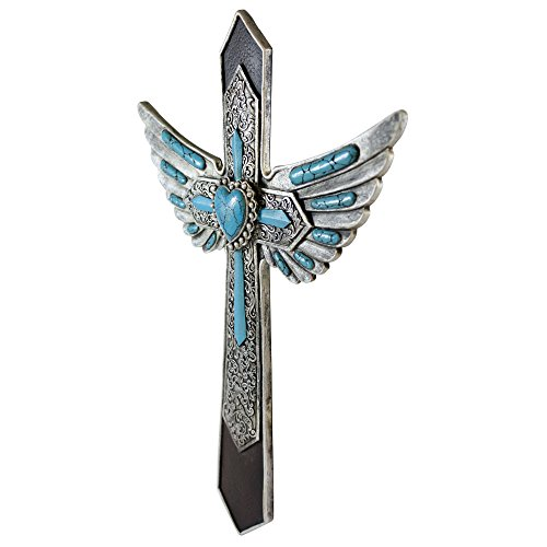 Winged Wall Cross For Wall Décor  Beautiful Christian Cross Perfect For Cross  Wall Art  Silver Engraving U0026 Turquoise Stones  Hanging Cross With Detailed  ...