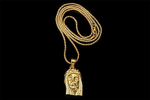 14k gold plate iced out hip hop jesus jewelry bling bling pendant 14k gold plate iced out hip hop jesus jewelry bling bling pendant necklace for men 36 3mm snake chain included wallcrossesandmore aloadofball Image collections