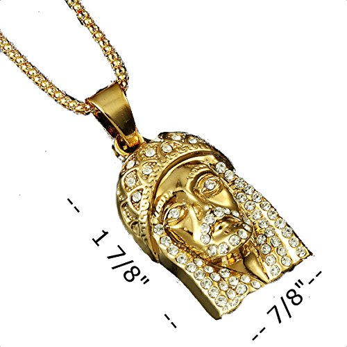 14k gold plate iced out hip hop jesus jewelry bling bling 14k gold plate iced out hip hop jesus jewelry bling bling pendant necklace for men 36 3mm snake chain included wallcrossesandmore mozeypictures Gallery